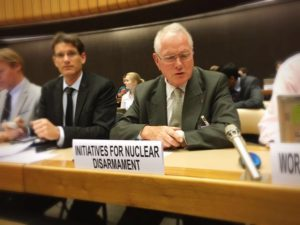 Bernard Norlain, former French Air Force General, speaking at the OEWG