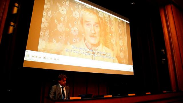"Special message from Stanislav Petrov just before the screening of ""The Man Who Saved the World"" at the United Nations in Geneva"
