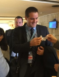 Reto Wollenmann, Swiss delegation to the OEWG, receives an origami crane