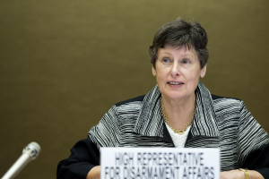 Angela Kane, addressing the Open Ended Working Group on Taking Forward Multilateral Nuclear Disarmament Negotiations. 27 June 2013. Photo by Jean-Marc Ferr