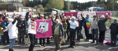 Wave goodbye to nuclear weapons outside Buchel nuclear weapons base in germany