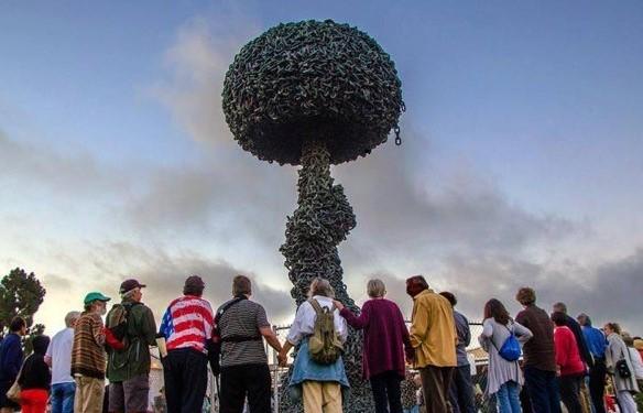 Vigil at the Chain reaction sculpture