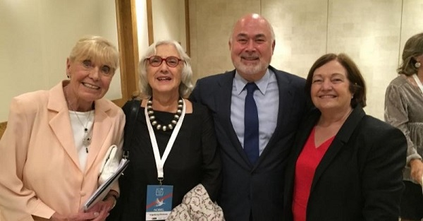 Jonathan Granoff (UNFOLD ZERO) with Nobel Peace Laureates Betty Williams (left) and Mairead Corrigan Maguire (right) plus Ingeborg Breines from International Peace Bureau (second left)