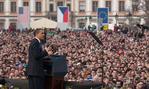 President Obama speaking in Hradcany Square, Prague. The Prague Bike around the Bomb will start and end here.