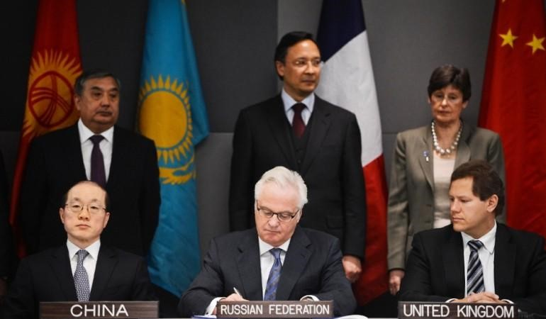 Ambassadors of China, Russia and the United Kingdom sign on to a protocol of the Central Asia Nuclear Weapon Free Zone at a signing ceremony in New York.