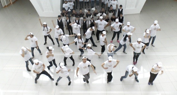 Students at the Kazakh National University of Arts do a performance flash mob for nuclear abolition